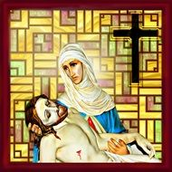 image of the grieving mother Mary and Jesus