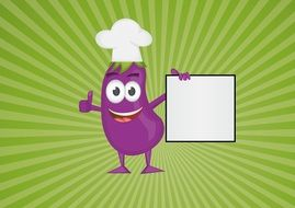funny eggplant as a cook