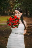 Dominican bride with bouquet
