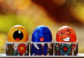 three multicolored easter eggs