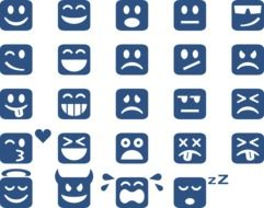 variety of emotions on blue icons