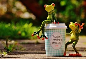 frogs figures with coffee in beautiful day