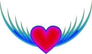 red heart with blue wings