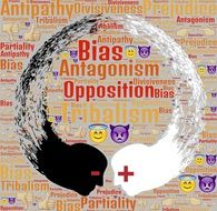 Antagonism, illustration at word cloud