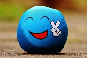 blue ball with funny emoticon
