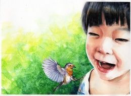 watercolor drawing of an asian girl with bird