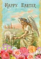 Easter card with the image of an angel and lamb
