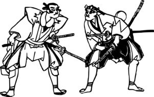 graphic depiction of two evil japanese samurai