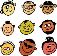 Smiling faces clipart