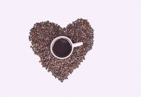 Heart beans and Coffee Cup
