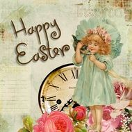 vintage Easter greeting card with little girl