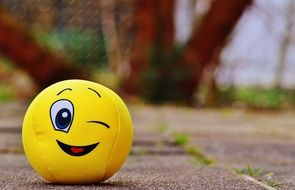 yellow ball with a friendly emoticon
