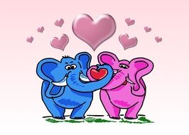 loving couple of elephants under the hearts