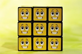 cube with funny emoticons