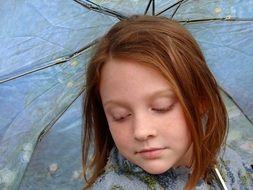 Girl in Rain Umbrella