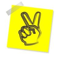 victory symbol on a yellow sheet