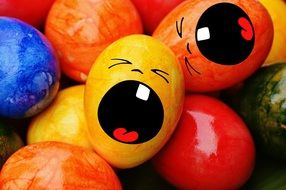 colorful Easter eggs with funny face