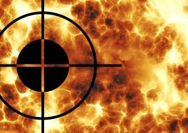 crosshairs on the fire background