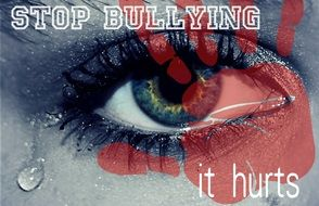 Stop Bullying, collage with weeping eye