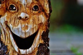 funny Log Face forest spirit
