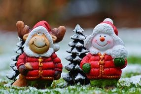 Christmas greeting Moose and Snow Man decoration