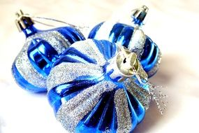 blue shiny Christmas baubles