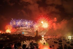 panoramic view of the New Year fireworks over Sydney