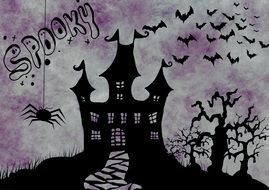banner with spiders for halloween