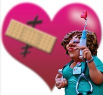 funny figurine of a nurse on the background of a broken heart