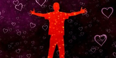 silhouette of a happy man on a background with hearts