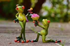 I Beg Your Pardon funny frogs porcelain statues