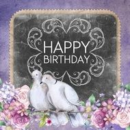 romantic happy birthday greeting card