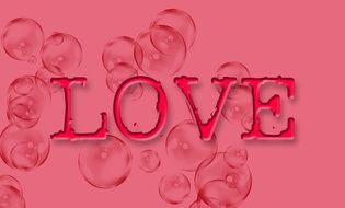 word love on a pink background