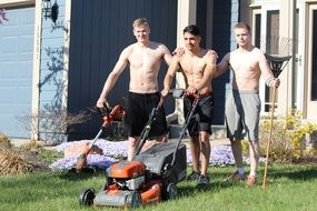 Shirtless Lads ready for Mowing