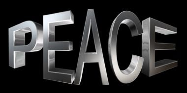 word peace on the black background