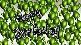 Birthday birthday, banner with green balloons