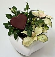 chocolate heart on a porcelain stand for mother's day
