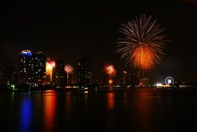 Fireworks on embankment of city at New Year night, thailand, Bangkok