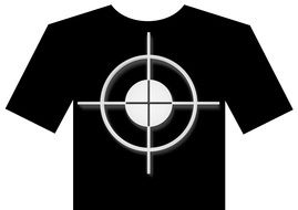 Black t-shirt with the white crosshair clipart