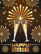 Happy 2016, greeting Card with champagne glasses