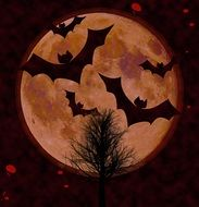 bats on the background of the moon