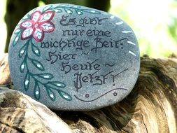 gray stone with love words