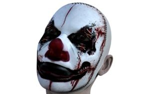 spooky clown head, dummy at white background