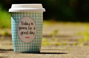 good day wishes on a glass of coffee