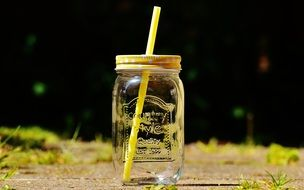 glass with straws for summer drinks
