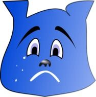 blue face of a sad bear drawing