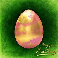 green Easter greeting card with pink gold egg