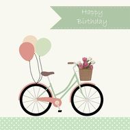 Happy Birthday, greeting Card with vintage bicycle