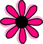 Black flower with the pink petals clipart