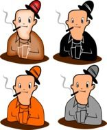 drawings of smoking men in different colors